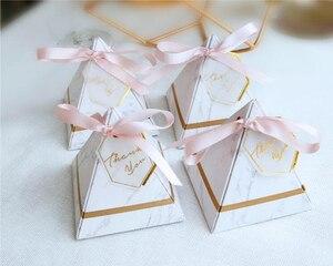 Image 5 - 50 pcs/100 pcs ใหม่พีระมิดสไตล์ Candy กล่องช็อกโกแลตกล่องโปรดปรานของขวัญกล่องการ์ดขอบคุณ & ริบบิ้น Party Supplies