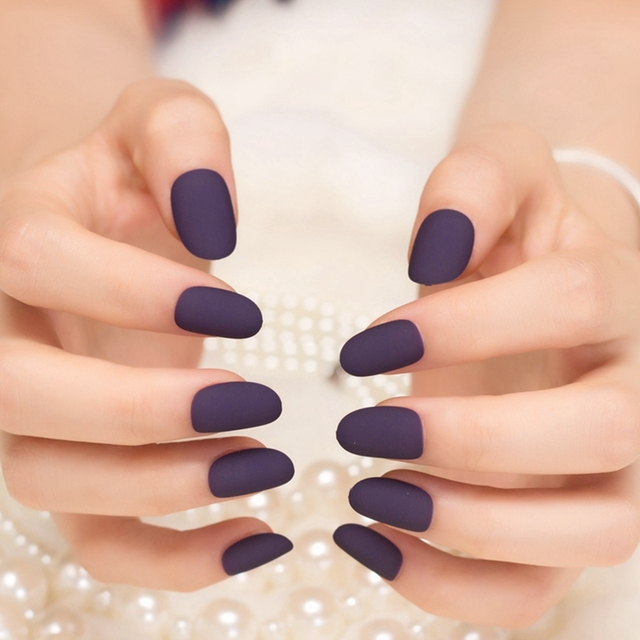 24pcs Sexy Frosted Deep Purple Fake Round Hand Nails Simple Beauty ...
