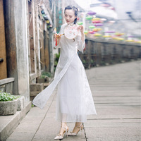 White Dress Women Vintage National Style Organza Dress 2019 Spring Summer New Elegant Stand Collar Long Cheongsam Dress Female