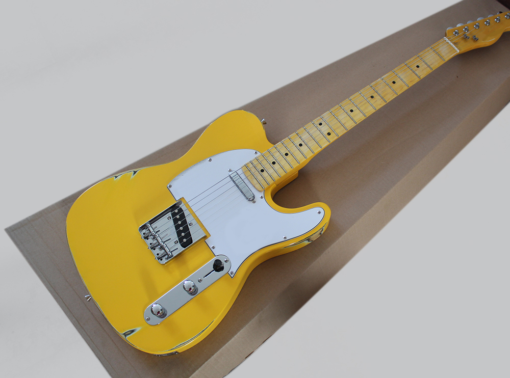 Yellow Vintage Style Electric Guitar with White Pickguard,Yellow Maple Fretboard,Chrome Hardwares,offering customized servicesYellow Vintage Style Electric Guitar with White Pickguard,Yellow Maple Fretboard,Chrome Hardwares,offering customized services