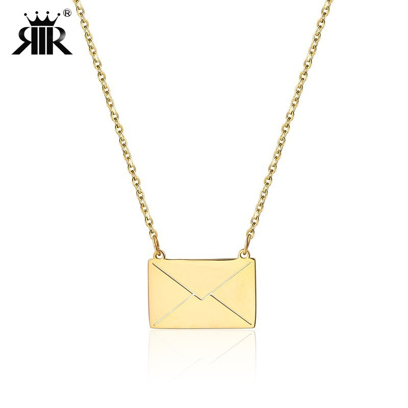 RIR Gold Envelope Pendant Necklace In Stainless Steel Women Minimalist Jewelry Necklaces Email Envelope Jewellery