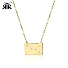 RIR Gold Envelope Pendant Necklace In Stainless Steel Women