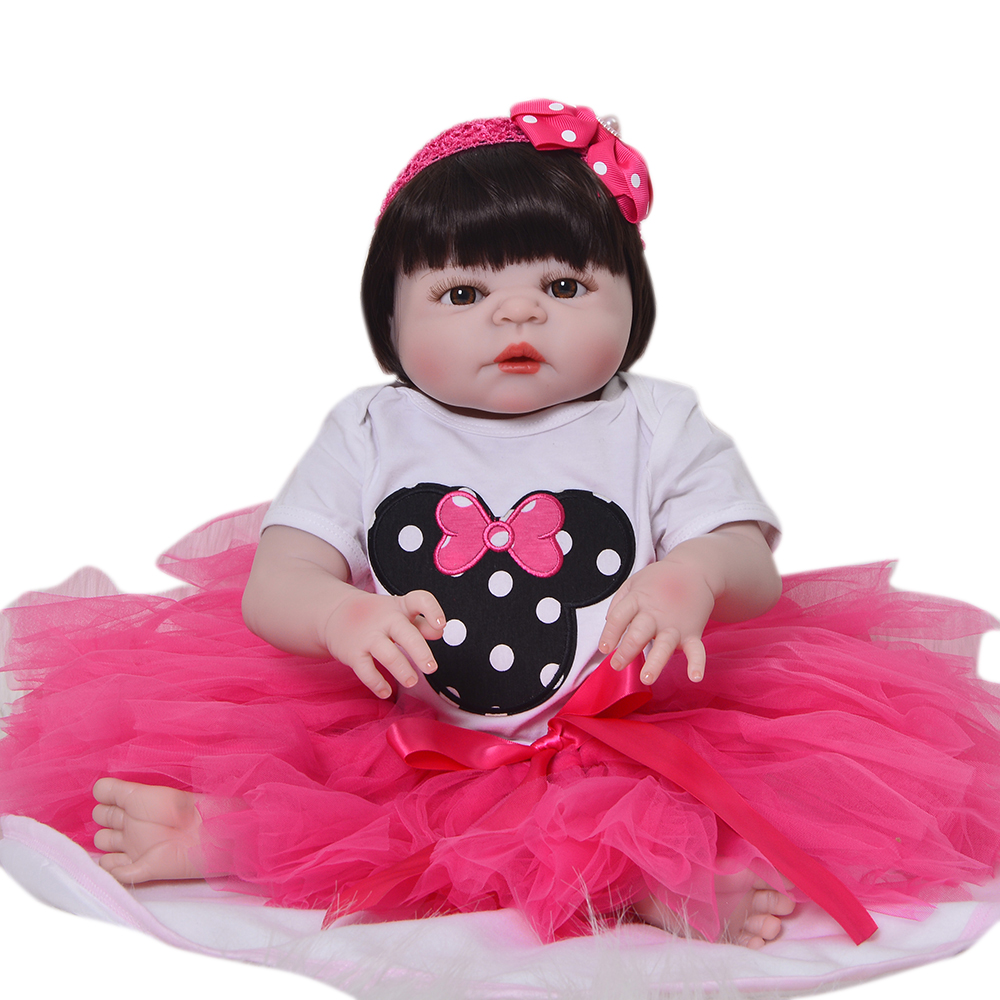 """2018 New Arrival 23"""" 57 cm Reborn Baby Doll So Cute Full Silicone Vinyl Girl Toys Bebe Reborn For Princess Playmates Best Gifts"""