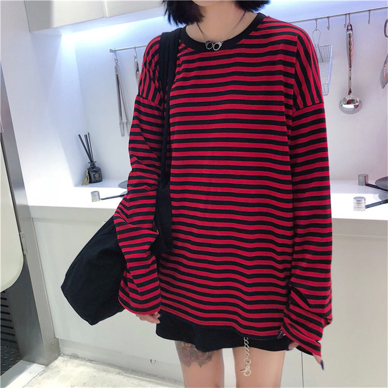 Women Men Fashion Brand Korea Style Vintage Black Red Stripe Ulzzang Harajuku O-neck Long Sleeve T-shirts Female Casual Tshirts