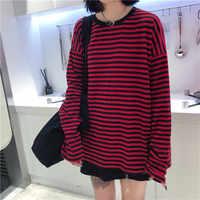 Women Men Fashion Brand Korea Style Vintage Black Red Stripe Ulzzang Harajuku O-neck Long Sleeve T-shirts Female Casual Tshirts