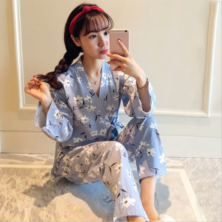 Womens Pajamas Sets Long Sleeve Kimono Pajamas Set 2 Pieces Pj Set Women Sleepwear Sexy Nightwear For Women Sleepwear Long Pant