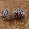 Красный Циркон Серьги Стержня Стерлингового Серебра 925 Серьги для Женщин букле d'oreille S925 Серебро Синтетический Рубин