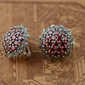 Red Zircon Stud Brinco 925 Brincos de Prata para As Mulheres S925 Prata Rubi Sintético boucle d'oreille