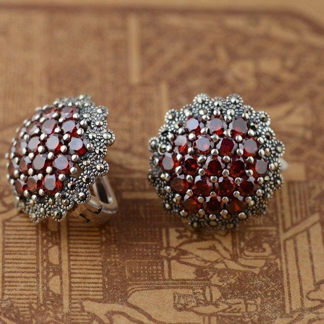 Red Zircon Stud Earring 925 Sterling Silver Earrings for Women S925 Silver Synthetic Ruby boucle d'oreille