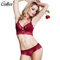 COLLEER Sexy Push Up Bra Set Underwear Women Bralette Lace Bra Thin D Cup Transparent