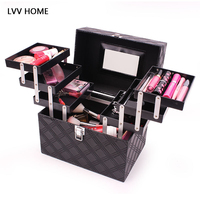 LVV HOME hree layers profession cosmetic storage box/Makeup artist organization cosmetic inishing box