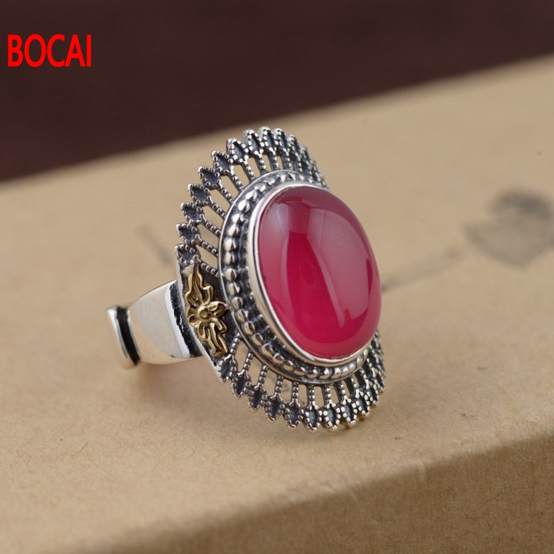 925 silver chalcedony ring set with synthetic corundum Thai silver technology for women