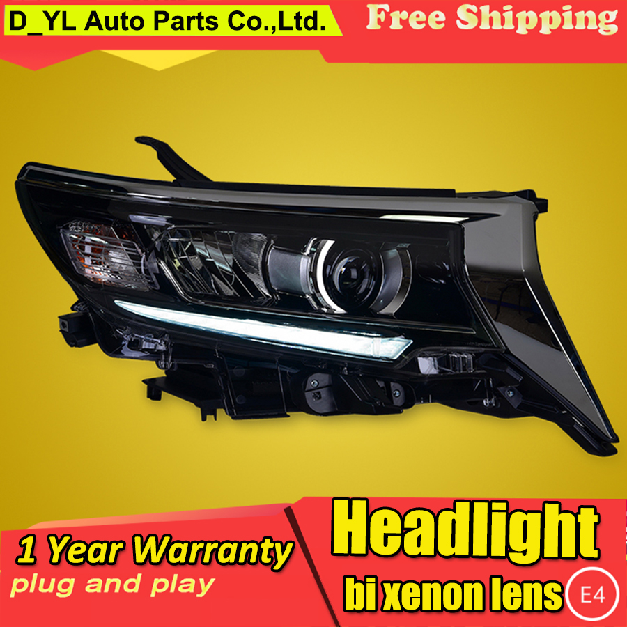Car Styling For Toyota Prado Headlights 2018 HID Headlamp LED DRL Bi Xenon Lens Low configuration upgrade Automobile Accessories-in Car Light Assembly from Automobiles & Motorcycles    1