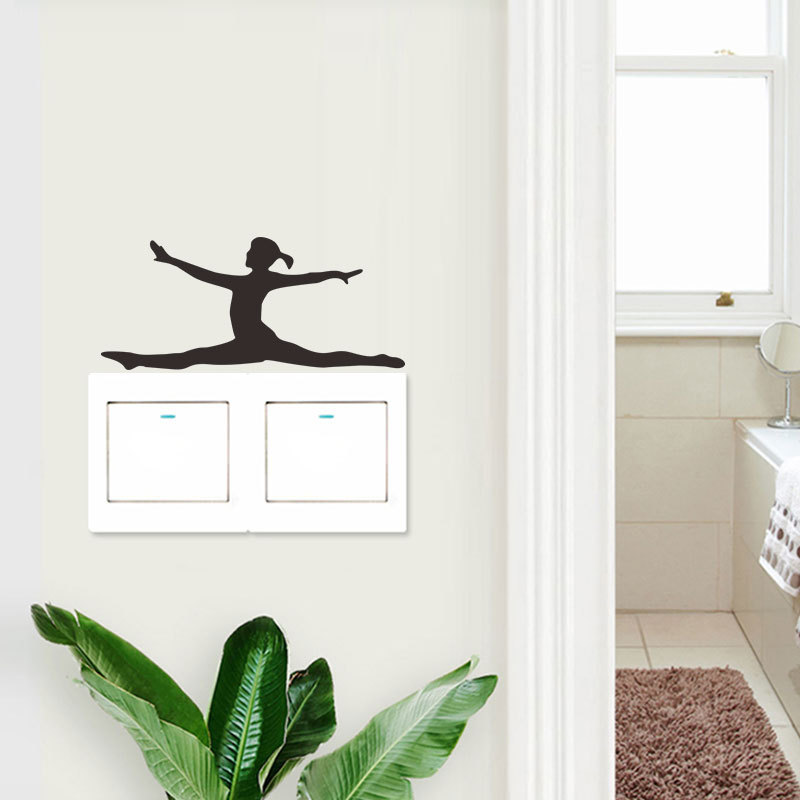 Ballet Dance Girl Wall Sticker Living Room Background Switch Decoration Pvc Switch Stickers Wallpaper Removable Mural
