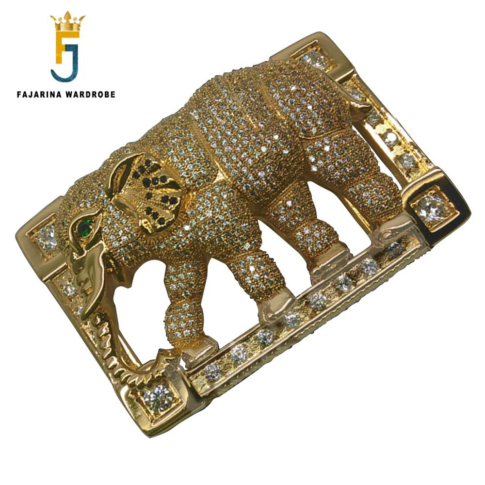 FAJARINA Luxurious Crystal Diamond Stainless Steel Belt Buckle Gold Elephant Smooth Buckles For Men Belts Accessories BCK023