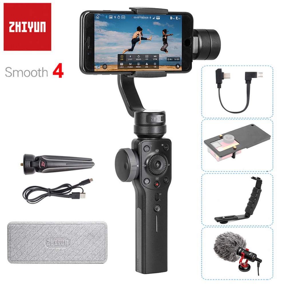 Zhiyun Smooth 4 3-Axis Handheld Gimbal Stabilizer for Smartphone iPhone X 8Plus 8 7 7Plus 6S Samsung S9 S8 S7 PK Smooth Q Feiyu