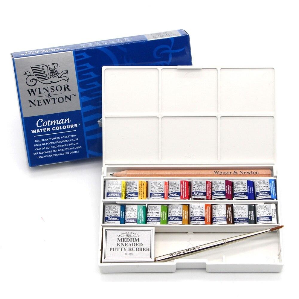WINSOR & NEWTON 16 couleurs cotman eau couleurs peinture peintre solide aquarelle pigment Art dessin fournitures