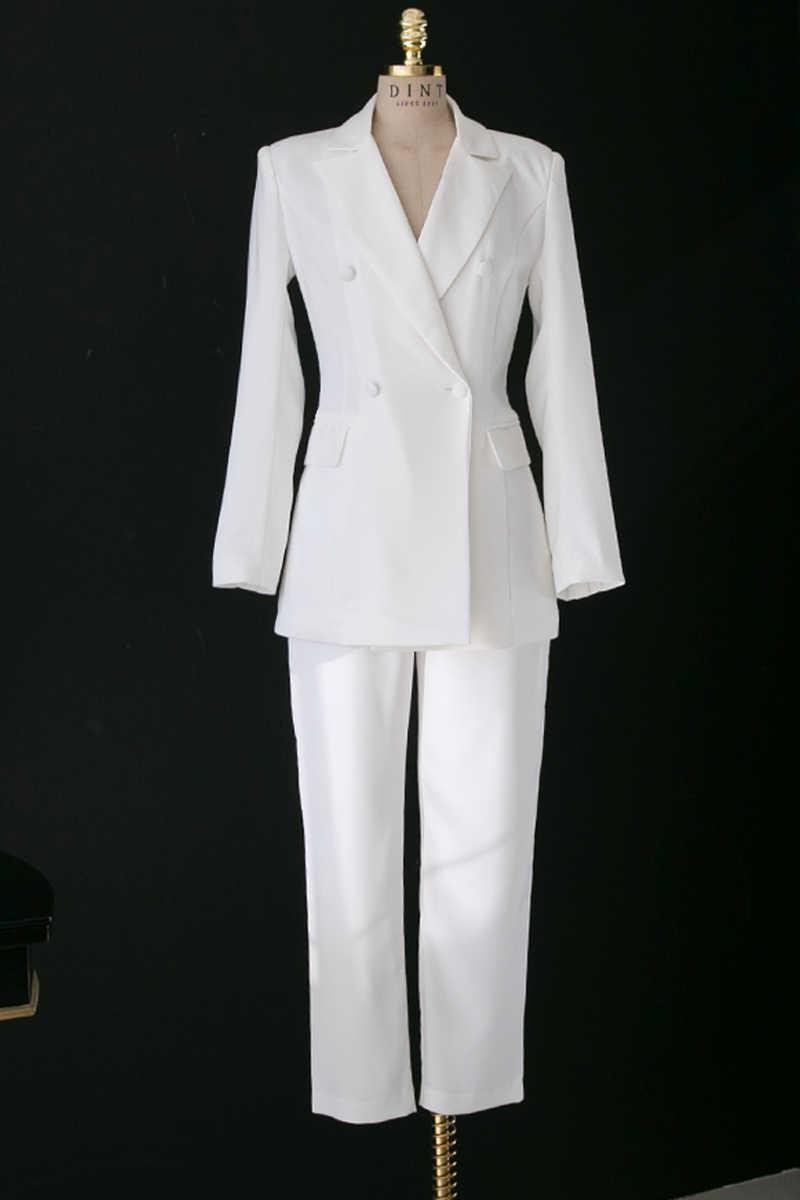 新しい白スーツ女性スーツ女性のソリッドカラーのファッションスリム原宿ジャケット気質 Ol の女性の服プロ通勤