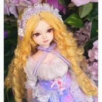 Бесплатная доставка fortune дней 1/4 bjd куклы 45 см золотые волосы фиолетовое платье с ободки белые туфли сочетание моносахарид bjd куклы