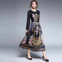 Black Noble Palace Long Dress Women Spring Autumn 2017 Lantern Long Sleeve Patchwork Luxury Gold European Russian Style Dresses