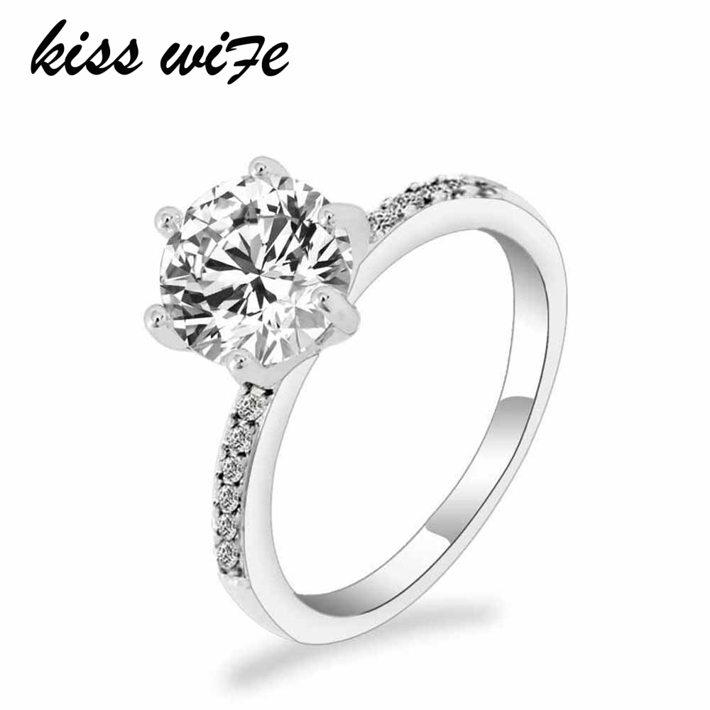 KISSWIFE Classic Engagement Ring 6 Claws Design AAA White Cubic Zircon Female Women Wedding Band CZ Rings Jewelry