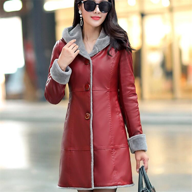 Women Winter Long   Leather   Jacket Female Velvet Lining Thick Warm Slim Overcoat Plus Size L-7XL Hooded Parkas Ds50278