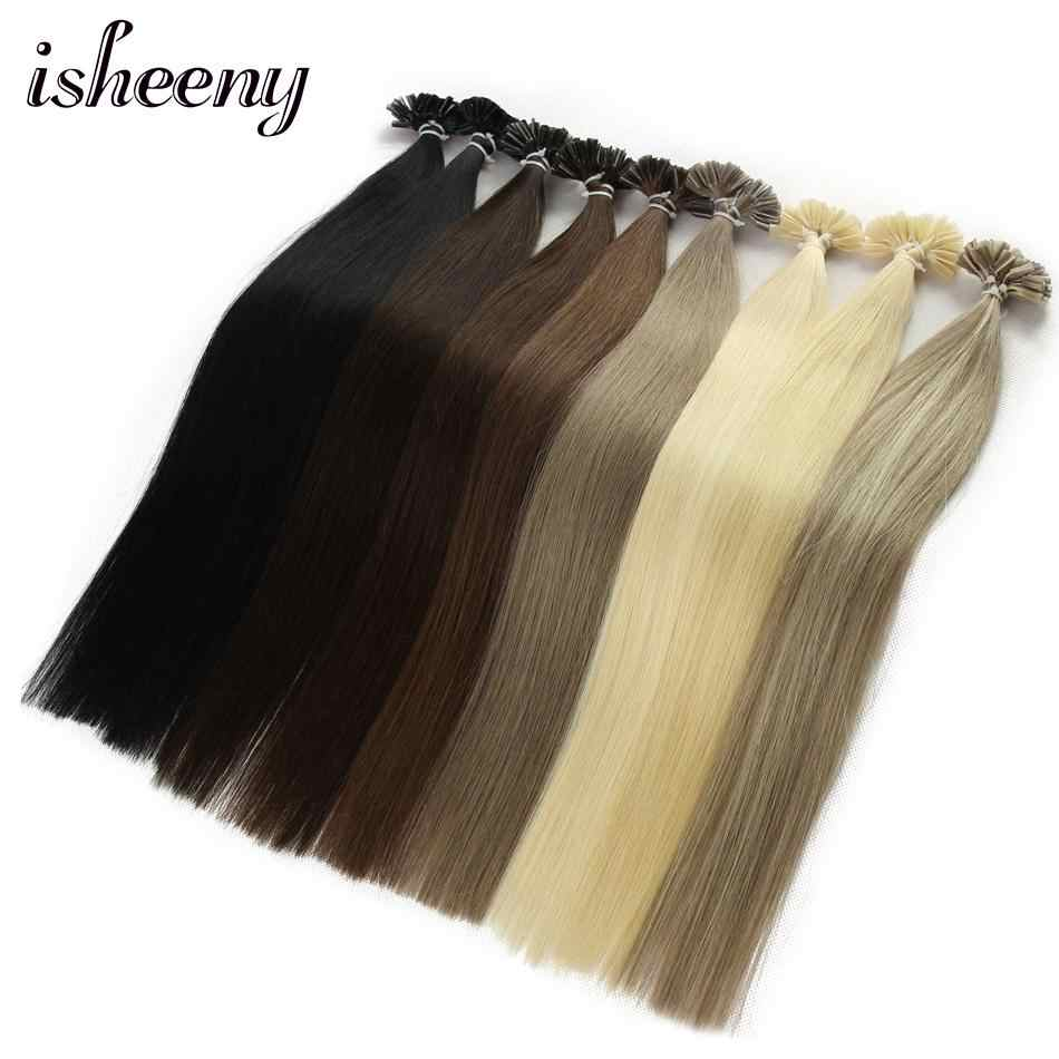 "Isheeny 14"" 18"" 20"" 22"" Fusion Hair Extensions 0.6g 0.8g 1g Remy Nail/U Tip Straight Keratin Pre-Bonding Human Hair On Capsuel"