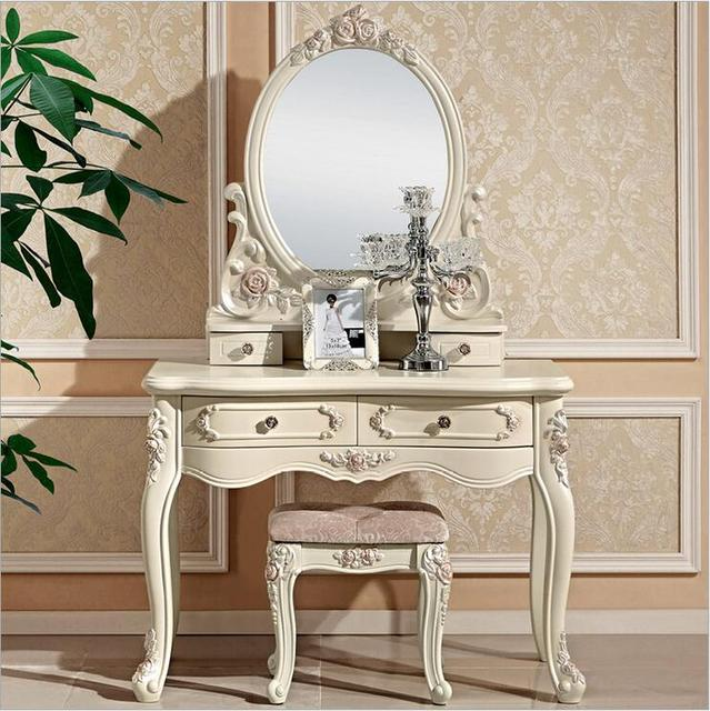 European Mirror Table Modern Bedroom Dresser French Furniture White French  Dressing Table Pfy10025