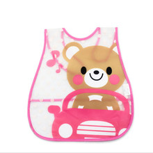 Adjustable Baby Bibs EVA Plastic Waterproof Lunch Feeding Bibs Baby Cartoon Feeding Cloth Baby Apron plastic bib(China)