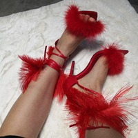 Single Strap Feather Cross Tied Thin High Heel Sandals Fur Ankle Strap Stiletto Heel Sandals Fashion Banqute Party Shoes New