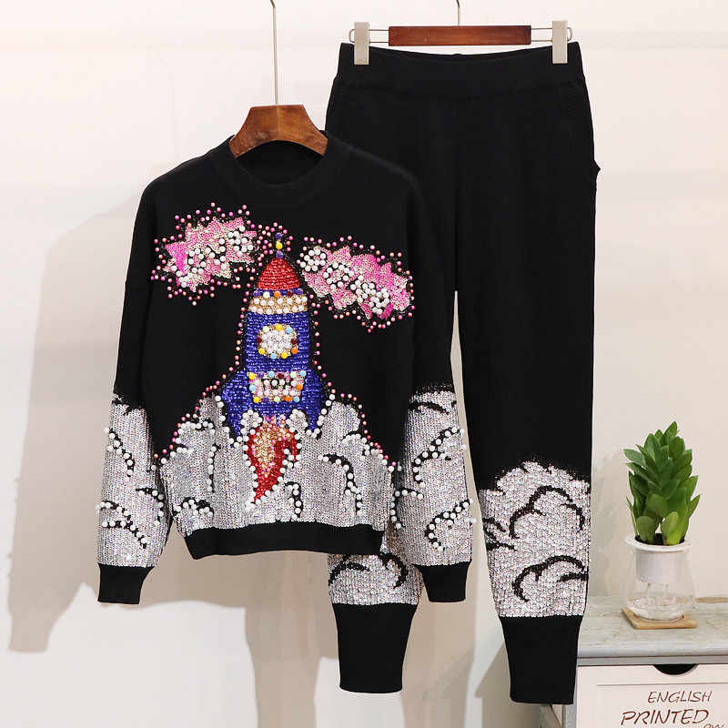 Women Set Autumn Winter Sequin Beading Knitted Sweater Women Suit Pullover Pants Female Casual Trousers Two piece Sets Tracksuit