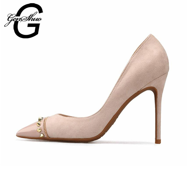 GENSHUO New Patchwork Pointed Toe Stiletto Women's pumps Sexy Metal Rivet Stitching Flock High Heels Shoes Black Nude Size 4-9.5