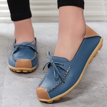 2019 New Women Flats Mixed Colors Genuine Leather Shoes Women Lace Up Oxford Shoes For Nurse Flat Shoes Casual Mocassin Femme 42