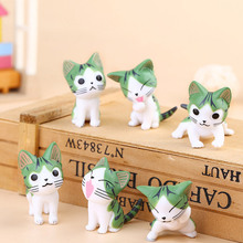 (6pcs/lot) Cheese cat miniature figurines toys cute lovely Model Kids Toys 4cm PVC japanese anime children action figures toys