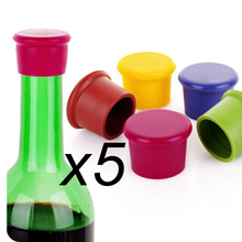 5pcs Silicone Wine Stoppers Leak Free Seal for Wine and Beer Bottles