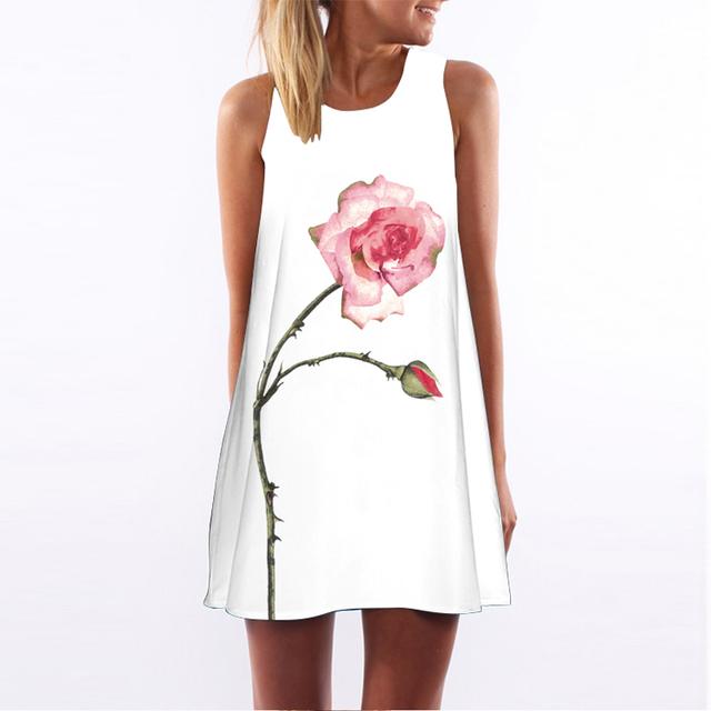 Women Sleeveless Hearts Print Casual Short Beach Dresses