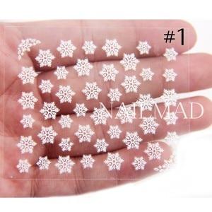 Image 3 - 1 ورقة بيضاء ندفة الثلج مسمار ملصقات 3d مسمار ملصقات عيد لاصق ملصق