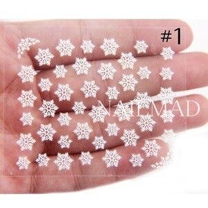 Image 3 - 1 Sheet White Snowflake Nail Stickers Christmas Snow Nail Stickers 3D Adhesive Sticker
