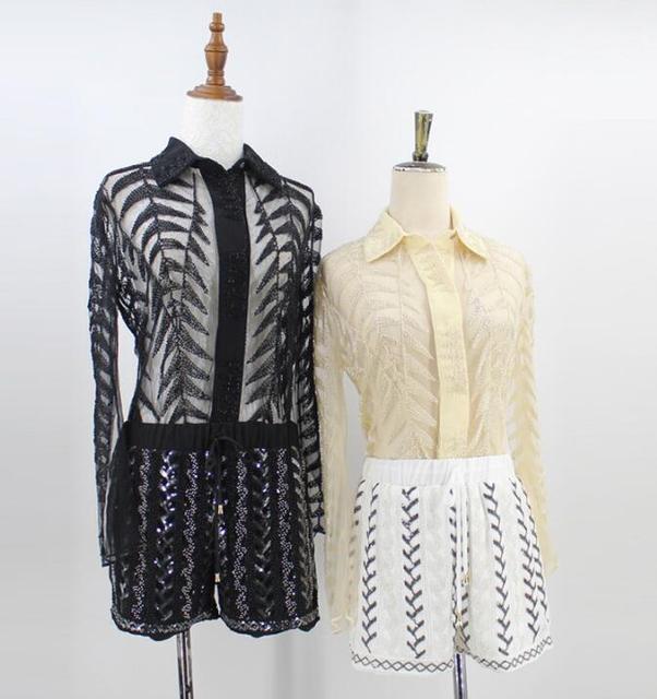 2018 Spring Sexy Women Sheer Long Sleeve Turn-down Collar Shirt Heavy Beaded  Gauze Lace 197cb8e64379