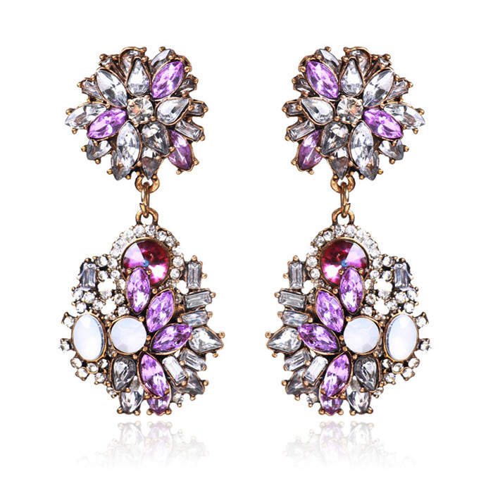 New Brand Trendy Big Crystal Statement Earrings Wedding Drop Earrings Women Party Hanging Earrings Jewelry Wholesale