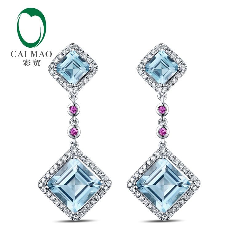 CaiMao 10KT 470 White Gold 7 52ct Topaz AAA 0 62 ct Round Cut Diamond Engagement