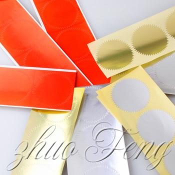 40 Uds. Pegatinas de sello para grabar sellos etiquetas adhesivas de engranaje redondo etiqueta papel diámetro 50mm