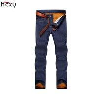 2017 Лидер продаж Для мужчин S зимние Утепленные Джинсы для женщин Для мужчин высокое качество теплые флисовые джинсовые байкерские джинсы Бр...