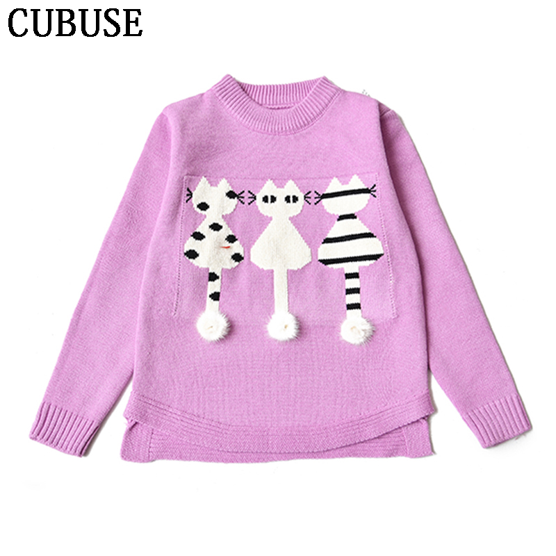baby Girls Sweaters Winter Autumn Kids Pullover Knitted Clothes For Girl Cartoon cat Sweater children sweaters Kids Knitwear sundae angel baby girl sweater kids boy turtleneck sweaters solid winter autumn pullover long sleeve baby girl sweater clothes