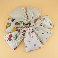Mixed Pattern 100pcs Lot 10x14cm Draw String Linen Cotton Gift Bag Handmade Durable Sack Storage Bag