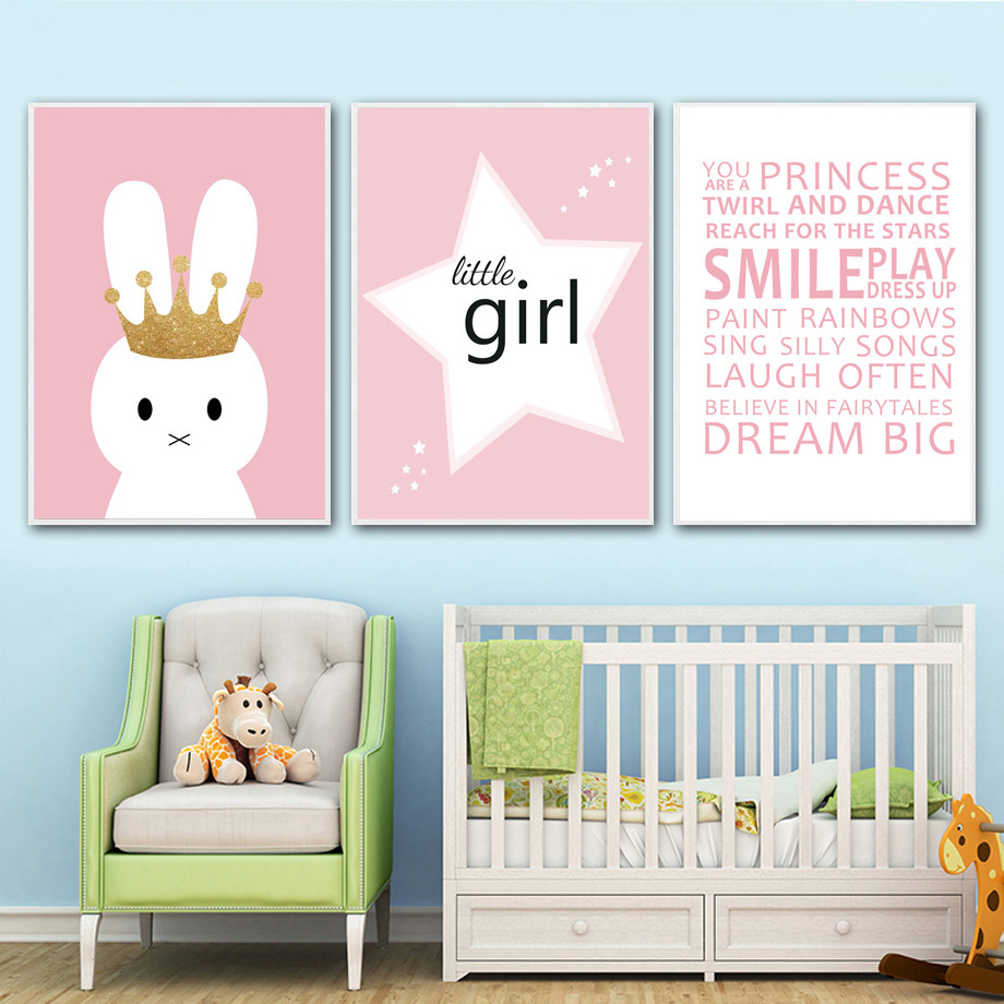 Nursery Prints Girl Us 5 85 Rabbit Little Girl Motivational Quotes Nordic Poster Wall Art Canvas Painting Nursery Prints Wall Pictures Baby Girl Room Decor In Painting