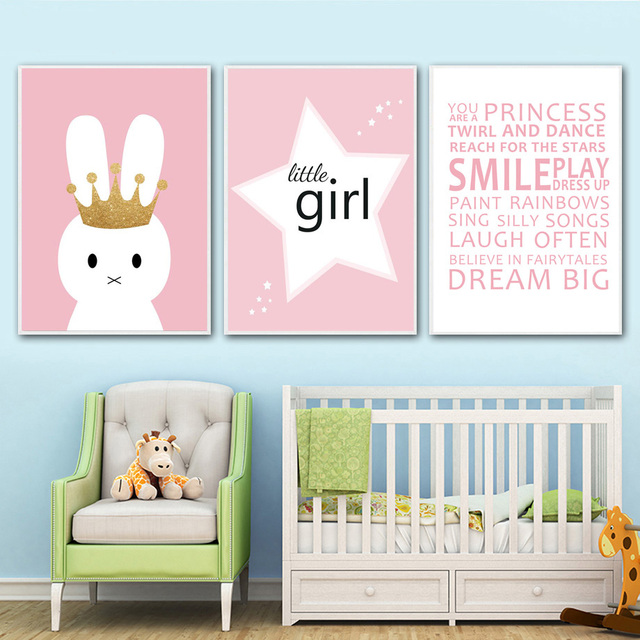 Rabbit Little Girl Motivational Quotes Nordic Poster Wall Art Canvas ...