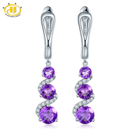 Hutang Natural Amethyst Dangle S Earrings Solid 925 Sterling Silver Gemstone Fine Jewelry English Clasp Women