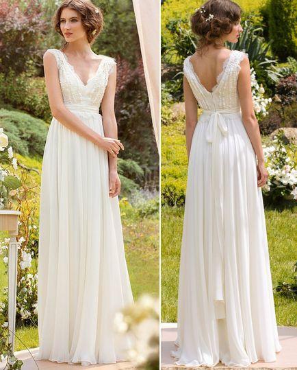 2016 Cheap Chiffon Boho Wedding Dresses Beach Wedding Gowns Simple V ...