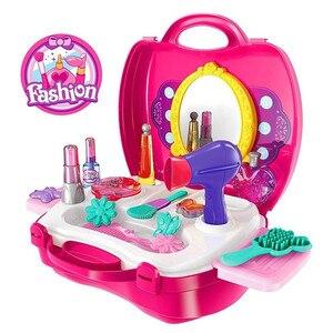 Image 5 - להעמיד פנים לשחק איפור סט יופי אופנה בנות צעצוע קוסמטי סט עם אחסון תרמיל עמיד יופי ערכת שיער סלון עבור בנות